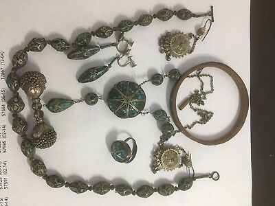 Lot of Asian Indian Jewelry Silver and Turquoise Vintage
