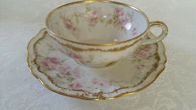 Antique Theodore Haviland Limoges France Tea Cup And Saucer Double Gold!!!!