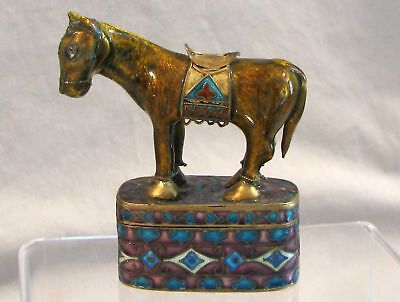 Antique Chinese Export Sterling Silver Gilt Jewelry Boxes With Horse china