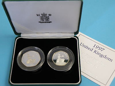 1997 Great Britain - UK - 2 Coin Silver Proof Fifty Pence Set