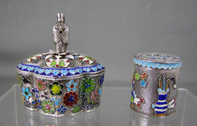 Pair Antique Chinese Export Sterling Silver Jewelry Boxes With Buddha china