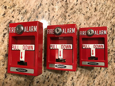 LOT of 3 Faraday Fire Alarm Pull Stations RMS-1T/RMS1T No Glass/All Metal
