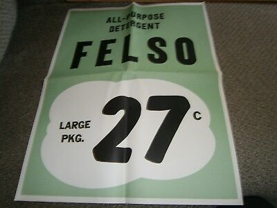 Vintage Grocery Store Window Ad 17 X 21 All Purpose Felso Detergent 27 Cents