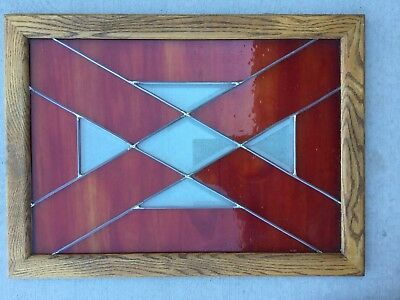 Stained Glass Window/Panel/Transom, Beveled, Wood Frame