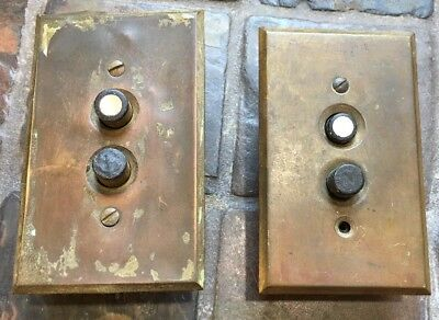 PAIR vintage antique push button light switch with Brass switch plate