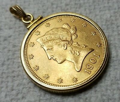 1901 $10 liberty head gold coin with 14k bezel