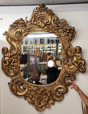 HUGE! Antique Hand Carved Italian Gold Gilt Mirror with Putti
