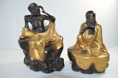 A Pair Antique Chinese Bronze Gilt Two Lohan Statue