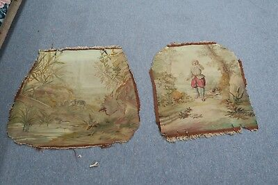 Antique Textile Wool French Aubusson Tapestry Back & Seat Chair Cover Set