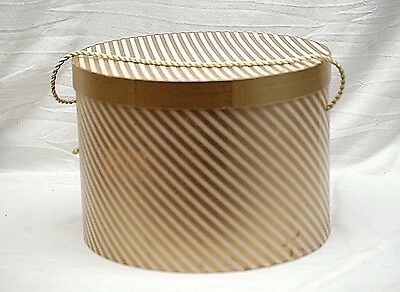 Old Vintage Millinery Hat Box Gold & White Striped Storage Container Box MCM