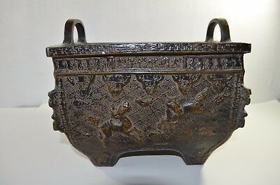 Antique Chinese Incense Burner Copper And Iron Combination With  Signed
