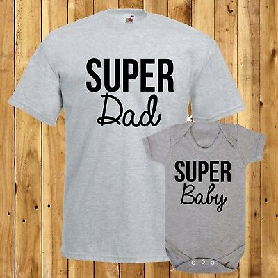 Super Dad TShirt Super Baby Bodysuit Matching Father Son Set Daddy Daughter Gift