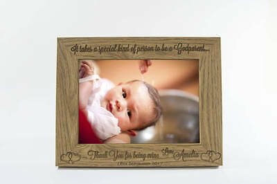 """Personalised Christening Wooden Photo Frame 7""""x5"""" FREE Engraving Godparent Gift"""