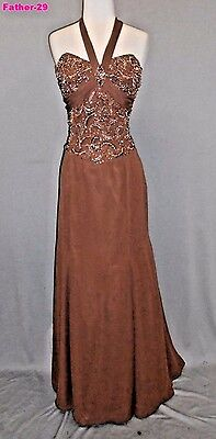 Xtreme Brown 12 Formal Wedding Mother of the Bride Beaded Dress Elegant Gown