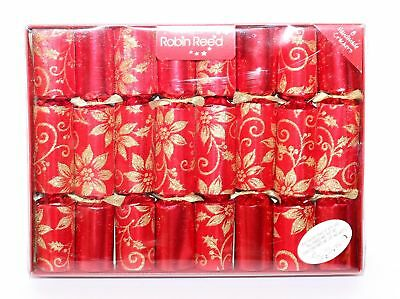 Robin Reed H7 Christmas Holiday 8pc Party Crackers – Poinsettia Glitter 51713