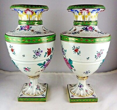 Pair of Antique Samson Old Paris Porcelain Floral Green & Gold Vases