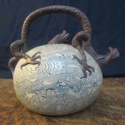 20thC CHINESE SEAL MARKED YIXING SCALY DRAGON TEAPOT