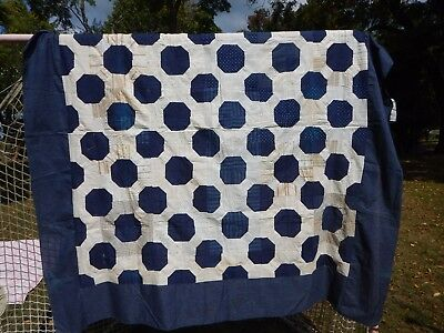 Early Quilt Top  Navy and shirtings from 19th Century VINTAGE