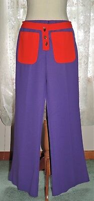 Vintage Bell Bottoms Groovy Red Eye Purple Hip Huggers Hippie Mod Psychedelic Sm