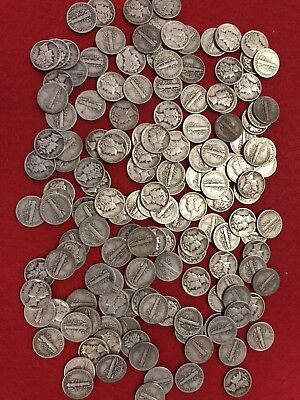 "1940 - 1949 ""d & S Only"" Mercury Dimes (Lot Of 25 Coins) Great Deal! Nice Coins!"