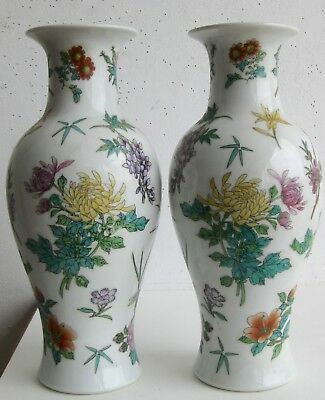 Fine Old Pair of Chinese Porcelain Various Flowers Decorated Vases SIGNED