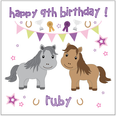 Personalised Horse Equestrian Riding Girls birthday card any message/name/age