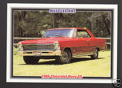 1966 CHEVROLET NOVA SS 327ci V8 Red Muscle Car Photo 1992 SPEC INFO TRADING CARD