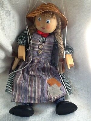 "Vintage 14"" Wooden String Marionette Puppet Country Girl by Tellon Collections"