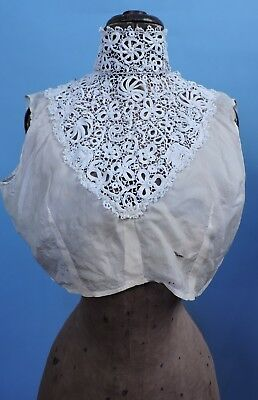 Victorian 19Th C Hand Made Irish Crochet Lace High Collar Undertop For Dress