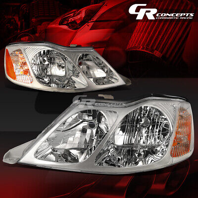 Pair Of Chrome Housing Amber Corner Headlight/lamp Lh+Rh For 00-04 Toyota Avalon