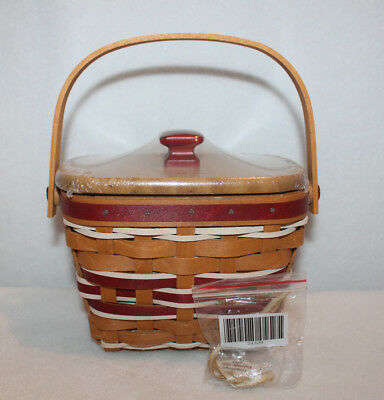 Longaberger 2015 Red Tree Trimming Yuletide Gift Basket Lid Protector Tie On New