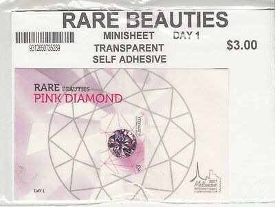 2017 Melbourne Rare Beauties: Pink Diamond day 1, self adhesive miniature sheet.