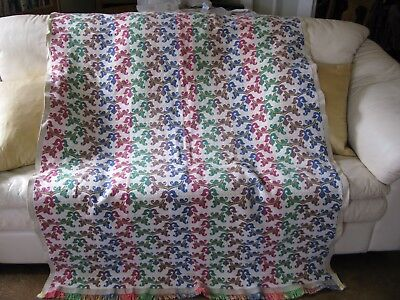 Antique Vintage Textile 100% Woven Tapestry Reversible Coverlet Throw 72x50