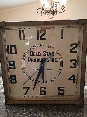 Vintage 1950's Gold Star Products Inc. Detroit Michigan Advertisement CLOCK