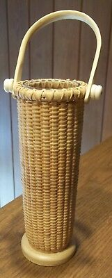Tall Nantucket Like Basket with Glass Vase Liner for Flowers Nautical Decor
