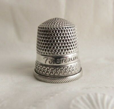 Antique Stern Goldsmith Sterling Silver Size 7 Thimble