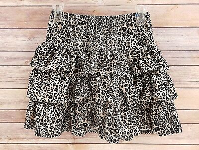 Hanna Andersson Tiered Ruffle Leopard Print Skirt Velvet Cute Party Size 150