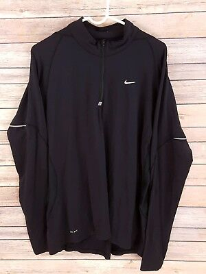 Nike Element Dri-Fit Mens Half-Zip Long Sleeve Black Running Top Size L Athletic