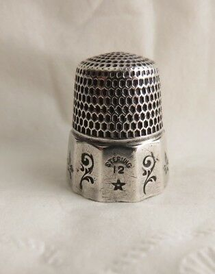 Antique Thomas Brogan Sterling Silver Size 12 Paneled Thimble