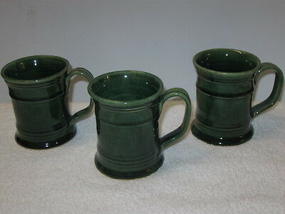Westmoore Pottery (Seagrove, Nc), Green  Mugs   --  3