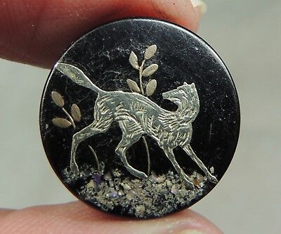 Silver & Mop Inlay In Horn Button ~ Dog Or Wolf