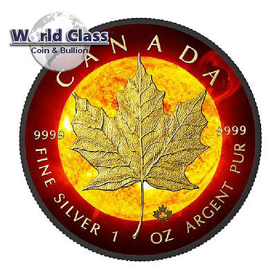 2015 1 oz Silver $5 Solar Flare Canada Maple Leaf Coin With 24k Black Ruthenium