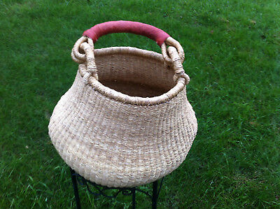 New Large Bolga Handmade Straw Baskets (Pot Basket) From Ghana Authentic Ashanti