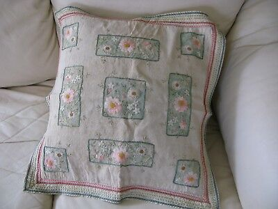 Vintage Floral Embroidered Hand Tinted French Cottage Linen Pillow Cover 20x20
