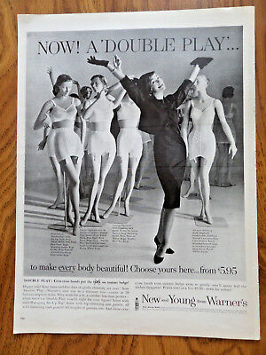 1960 Warner's Bra Girdle Ad  Now! A Double Play