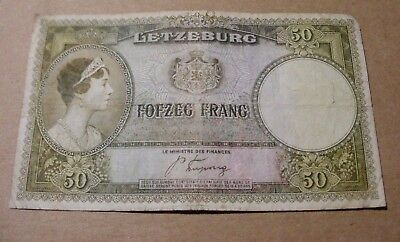 Letzeburg Luxembourg 50 Francs Banknote Fofzeg Frang WWII