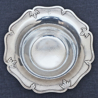 """Antique Shreve & Co 14th Century Hammered Sterling Silver 10"""" Wide Bowl, NO RES!"""