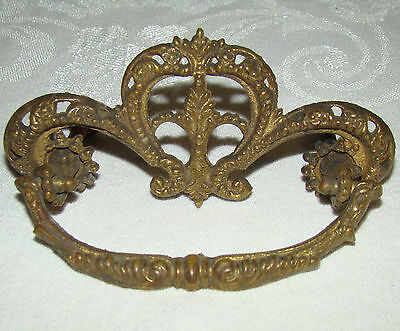 Ornate Antique Victorian Brass Drawer Pull