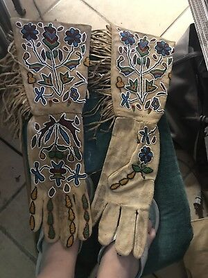 Genuine Leather Native American Hand Beaded Gauntlet Gloves