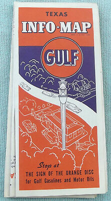 TEXAS Highway Info-Map ~ GULF Gas and Oil Company  ~TX ROAD MAP ~ 1930s?